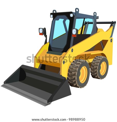 yellow truck with a scraper to lift cargo. Vector. - stock vector