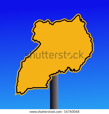 yellow Uganda map warning sign on blue illustration