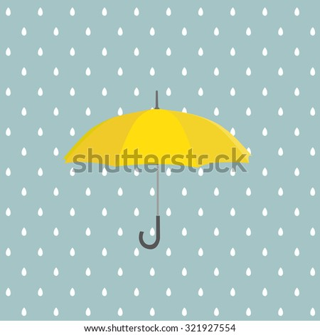 Yellow umbrella with rain. Vector background - stock vector