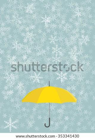 Yellow umbrella with snowflake. Vector background - stock vector