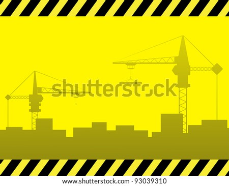 yellow urban construction background with crane and city landscape - stock vector