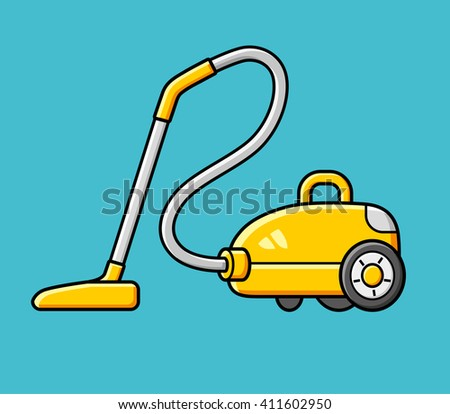 Yellow vacuum cleaner on a blue background, vector icon. - stock vector