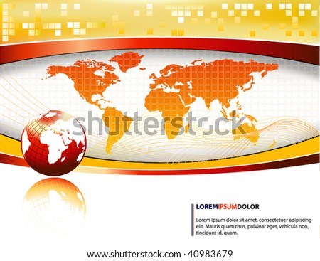 yellow vector design template with earth globe - stock vector