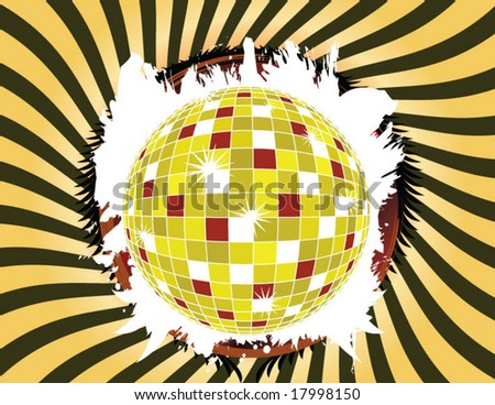 yellow vector disco ball with grunge effect in yellow swirly background