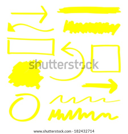 Yellow vector highlighter elements set - stock vector