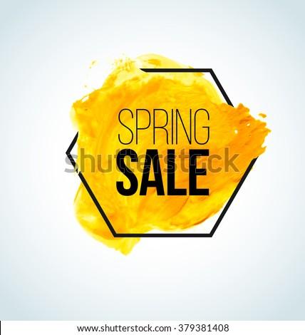 Yellow Vector watercolor Spring Sale Label - stock vector