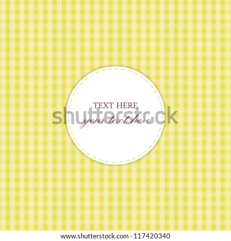 Yellow Vintage Card, Plaid Design - stock vector