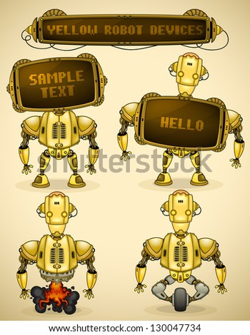 Yellow vintage robot devices - stock vector