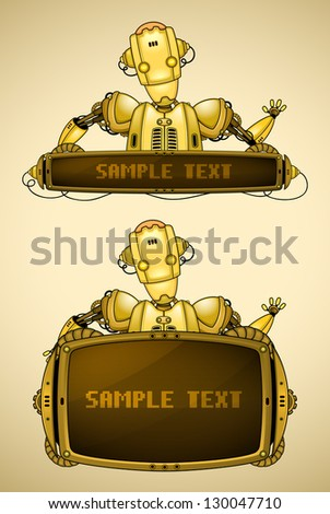 Yellow vintage robot with display - stock vector
