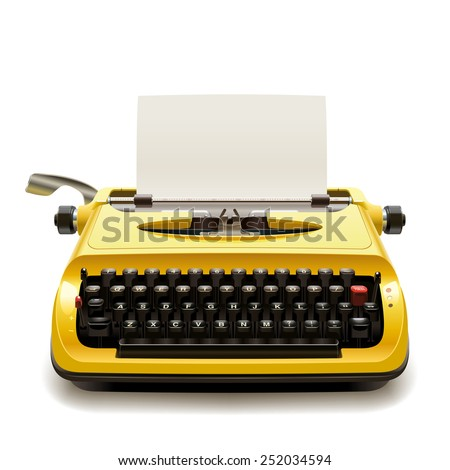 Yellow vintage typewriter with a blank sheet of paper - stock vector