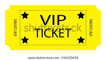 Yellow VIP Ticket. Vector - stock vector