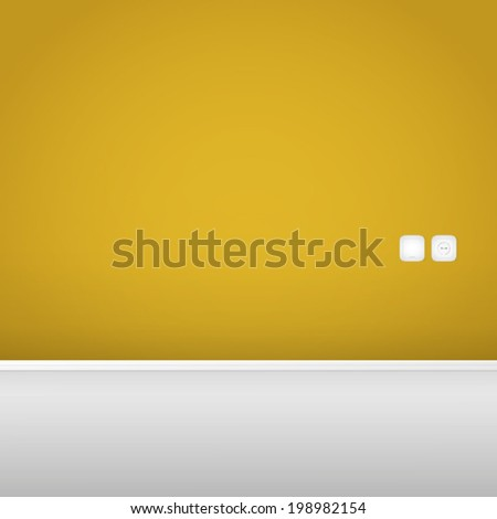 Yellow Wall with Socket and Switch - stock vector
