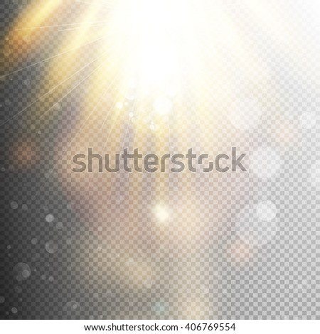 Yellow warm light effect, sun rays, beams on transparent background. EPS 10 vector file included - stock vector