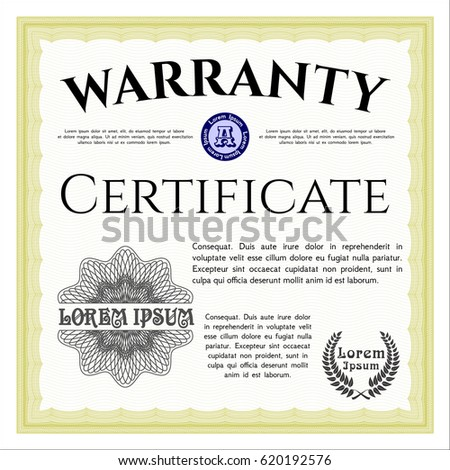 Yellow warranty certificate template printer friendly stock photo yellow warranty certificate template printer friendly detailed modern design yadclub Gallery