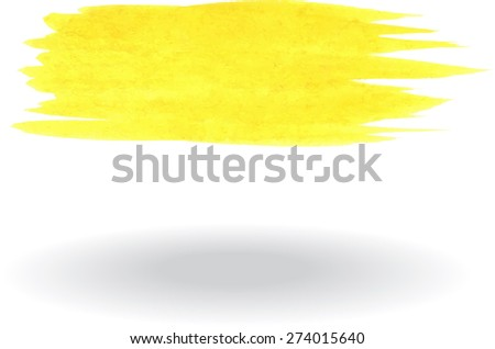 Yellow watercolor brush - stock vector