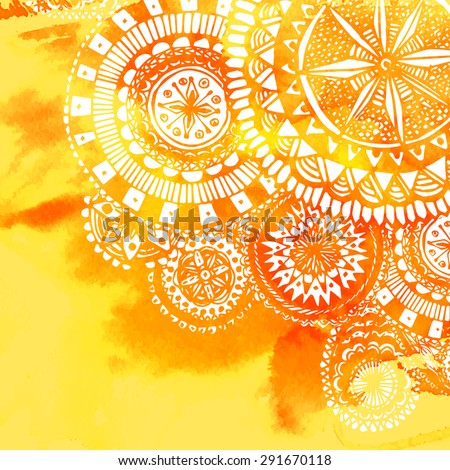 Yellow watercolor paint background with white hand drawn round doodles and mandalas. Vector design of backdrop. - stock vector