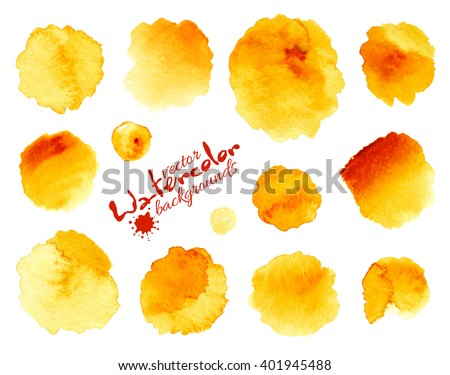 Yellow watercolor painted vector stains set - stock vector