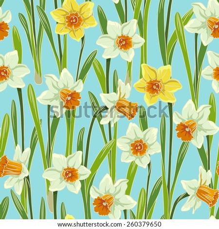 Yellow white jonquil daffodil narcissus seamless pattern, blue background - stock vector