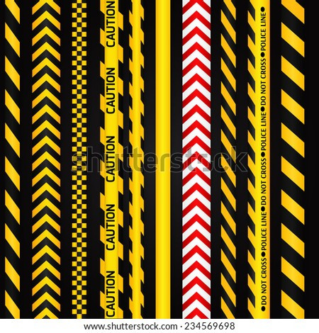 Yellow with black and red with white police line and danger tapes on dark background. Vector illustration. - stock vector