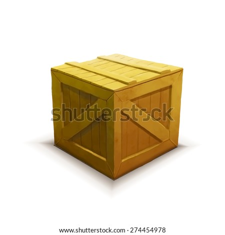 Yellow wooden crate with shadow, realistic icon isolated on white - stock vector