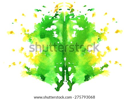 yellowish green watercolor symmetrical Rorschach blot on a white background - stock vector