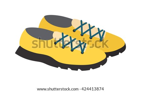 Yellows sneakers isolated and fashion footwear yellow sneakers. Vector yellow sneakers and pair sport yellow sneakers. Fashion yellow footwear fitness clothing running shoelace athletic accessories. - stock vector