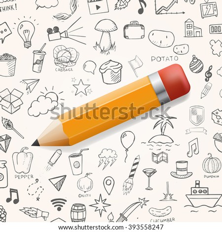 Yelow pencil with group of hand drawn icons, vector doodle objects