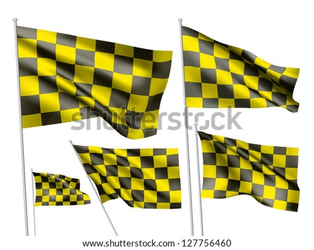 Yelow racing checkered vector flags. A set of 5 wavy 3D flags created using gradient meshes - stock vector