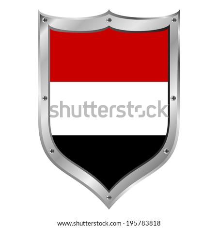 Yemen flag button on a white background. Vector illustration. - stock vector