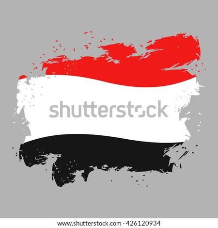Yemen flag grunge style on gray background. Brush strokes and ink splatter. National symbol of Yemeni government - stock vector