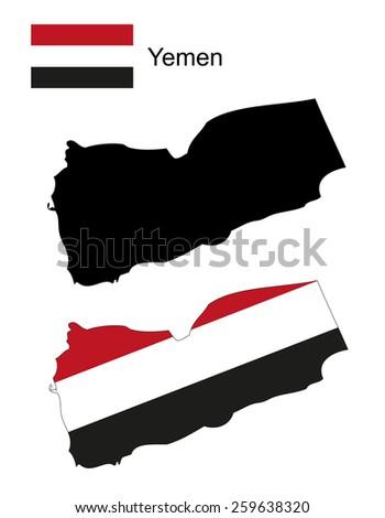 Yemen map and flag vector, Yemen map, Yemen flag - stock vector