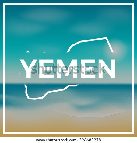 Yemen map summer poster. Yemen map against the backdrop of beach and tropical sea with bright sun. Modern stylish Yemen map design. Vector illustration. - stock vector