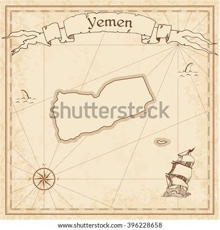 Yemen old treasure map. Sepia engraved template of Yemen treasure map. Stylized Yemen treasure map on vintage torn paper. - stock vector