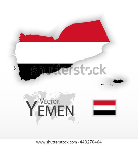 Yemen ( Republic of Yemen ) ( flag and map ) ( transportation and tourism concept ) - stock vector