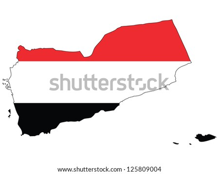 Yemen vector map with the flag inside. - stock vector