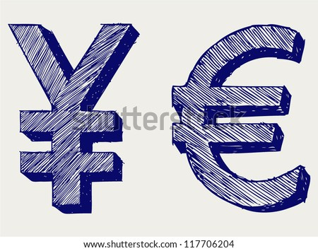 Yen and euro. Doodle style - stock vector