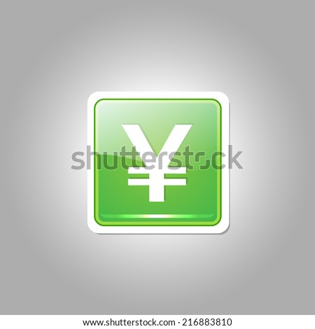 Yen Currency Sign Rounded Rectangular Vector Green Web Icon Button - stock vector