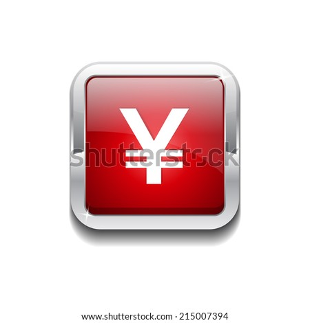 Yen Currency Sign Rounded Rectangular Vector Red Web Icon Button - stock vector