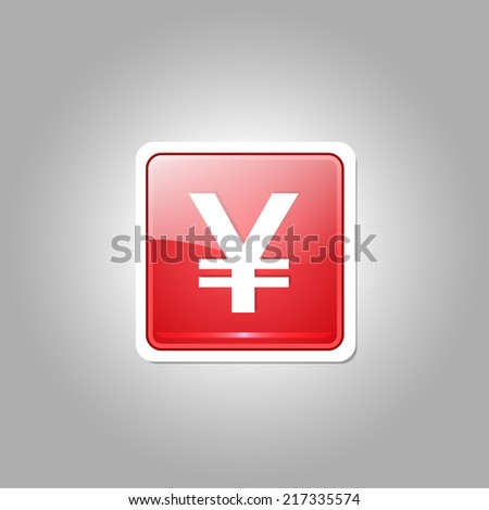 Yen Currency Sign Square Vector Red Web Icon Button - stock vector