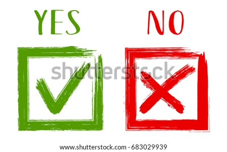 Yes No Acceptance Rejection Symbols Vector Stock Vector Royalty