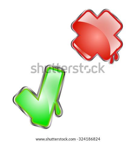yes and no buttons  - stock vector