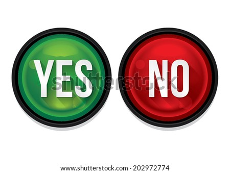 Yes and no buttons isolated. Vector Illustration - stock vector