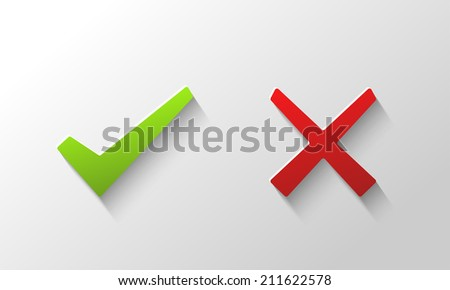 Yes and No check marks  - stock vector