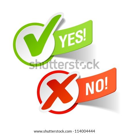 Yes and No check marks. Vector. - stock vector