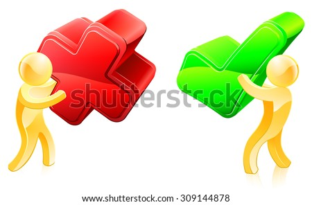Yes and no concept of two people, one with tick and one with X - stock vector