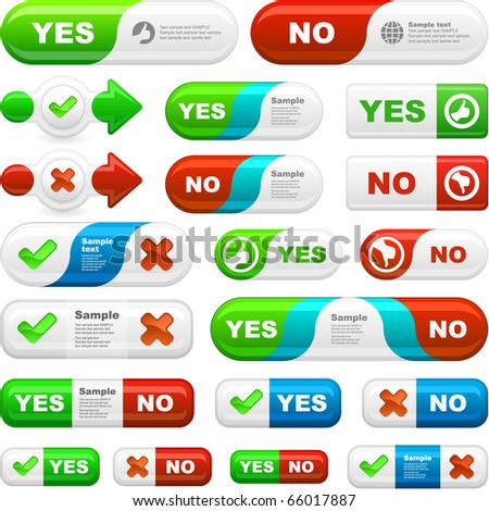 Yes and No icon. Great collection. - stock vector