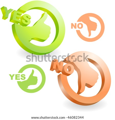Yes and No icon. Vector beautiful icon set. - stock vector