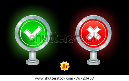 Yes and No signs on black - stock vector