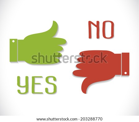 Yes and No. Thumb up and down icons. Vector green thumb up icon and red  thumb down with shadow. Vector illustration for your design. - stock vector