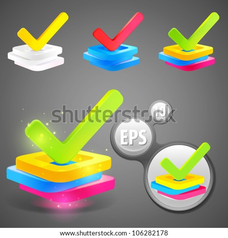 Yes done tick over check boxes stack, eps10 vector icon set - stock vector